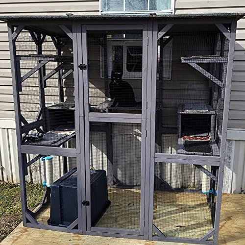 GUTINNEEN Large Cat House Outdoor Walk in Wooden Cat Enclosure Indoor Cat Cage Kitty Condo Playpen...