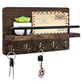 Mail and Key Holder Organizer Wall Mounted, Rustic Wood Hanging Mail Sorter with 5 Key Hooks, Farmhouse Letter and Bill Storage Shelf for Entryway, Mudroom, Hallway, Kitchen, Office,