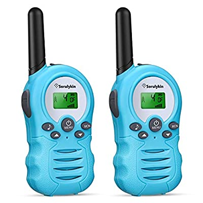Sorulykin Walkie Talkies for Kids 22 Channels, 2 Way Radio Up to 3KM/2 Miles Long Range Handheld Interphone, Best Gift Toys for Age 3-12 Boys and Girls to Outside Adventure, Blue 2 Pcs