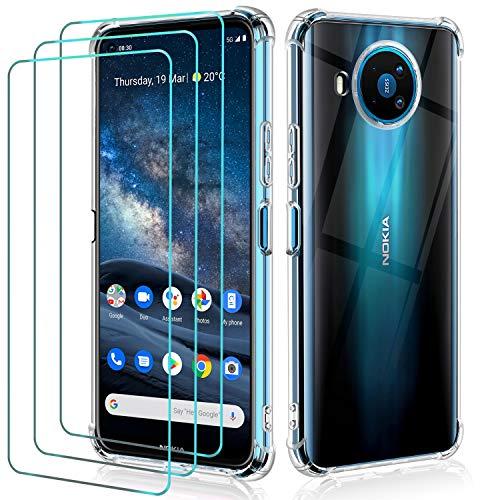 ivoler Hülle für Nokia 8.3 5G mit 3 Stück Panzerglas Schutzfolie, Transparent Weiche TPU Silikon Handyhülle Hülle Anti-Kratzer Stoßfest Durchsichtig Schutzhülle Cover