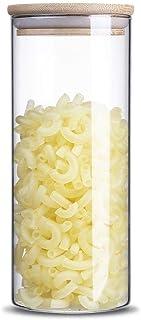 Gianchy Tarro de Almacenamiento de Alimentos Tarro de Cristal Vidrio Alto de Borosilicato Cilindro Hermético con tapa de ...
