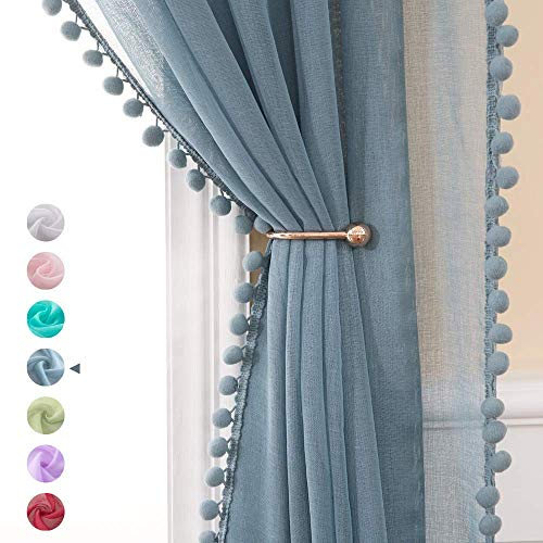 MIULEE Linen Textured Window Sheer Curtains with Pom Pom for Bedroom Living Room Semi Transparent Kids Voile Panels for Light Filtering W 54 x L 90 Inches 2 PCs Dusty Blue