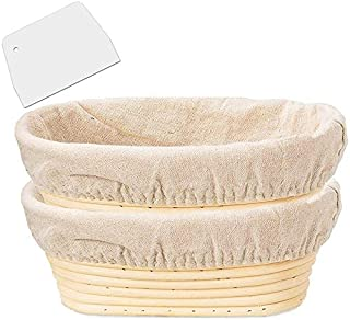 SODIAL 2 Packs 10 Inch Oval Shaped Bread Proofing Basket - Baking Dough Bowl Gifts for Bakers Proving Baskets for Sourdoug...