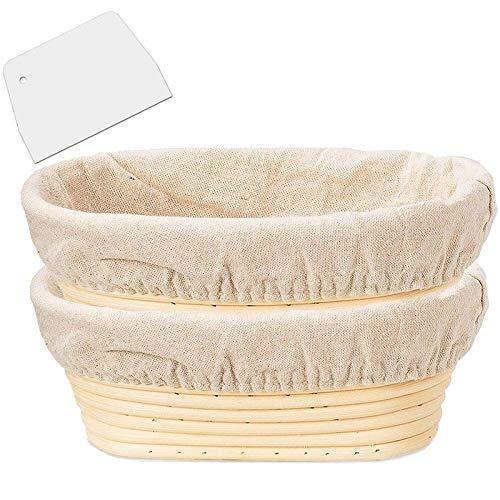 Huante - Juego de 2 paquetes de 10 pulgadas ovalados en forma de cesta para pan para el prejuicio – Regalos de cuenco de repostería para los panaderos que proporcionan cestas para el pan al levano