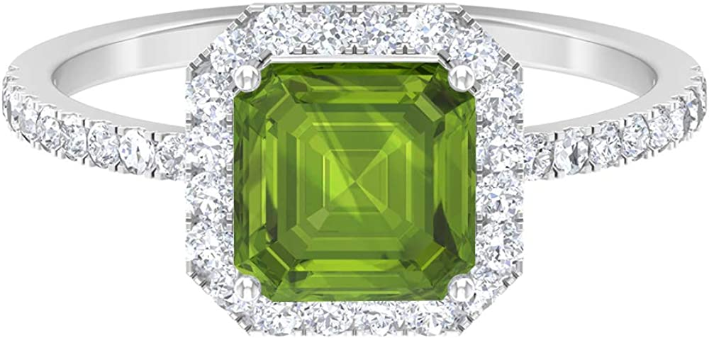 Asscher Cut Ring Solitaire Promise CT D-V 2.53 Ranking TOP13 Special Campaign Gemstones