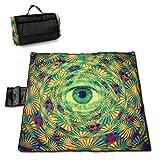 Manta de Picnic Trippy Eye Hippie Espiral Círculo Sandfree Soft Pocket Mantas de Picnic Alfombra Familiar al Aire Libre 145X150CM