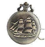 Infinite U Retro Ancient Sailboat/Warships/Pirate Ship Pendant Quartz Pocket Watch Long Necklace with Gift Bag for Men/Women