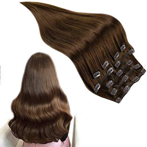 RUNATURE Clip in Human Hair Extensions 10 Inch 100g 9st Voor Volledige Kop #4 Chocolade Bruin Clip in Hair Extensions