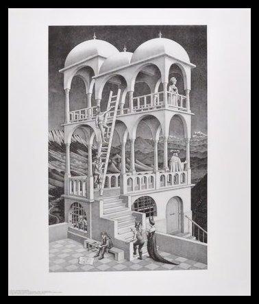Germanposters MC Escher Poster Kunstdruck Bild Belvedere im Alu Rahmen in schwarz 71x61cm