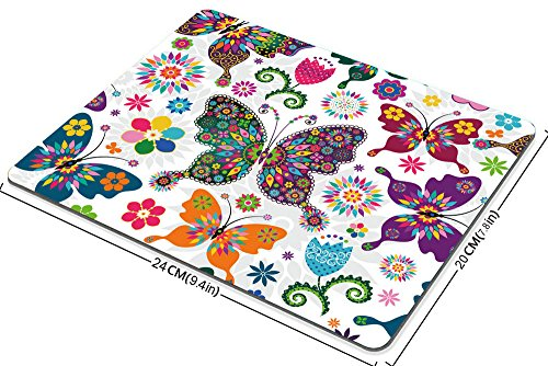 Smooffly Original Vintage Pattern Colorful Butterfly and Flower Mouse Pad Rectangle Non-Slip Rubber Mousepad Gaming Mouse Pad mat Photo #2
