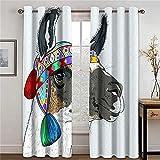 Hailongdia Cortinas Opacas, Turbante Burro Ojales con Aislamiento Térmico, Patrón 3D Súper Suave, 2 Paneles para Sala De Estar 150 (H) X125 (W) Cmx2
