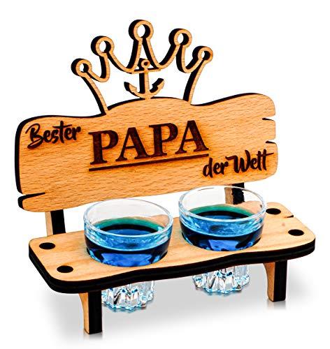 Schnapsbank mit Schnapsglas und Kerze, Deko Anker und Herz Geschenk - Bester Papa der Welt