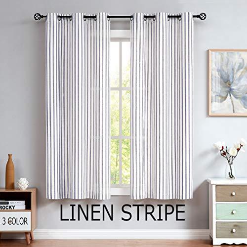 Linen Stripe Semi Sheer Curtain Panels Living Room Farmhouse Rustic Contemporary Window Treatment Drapery Sets, 40x95 Inches, Navy/Dark Blue
