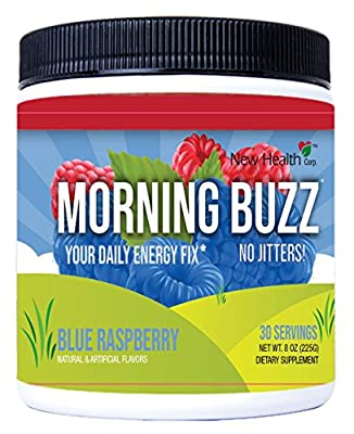 Morning Buzz Sports Energy Drink Mix by New Health, Pre Workout, Sports Nutrition Drink, Supports Lasting Energy, Endurance, Mental Clarity, and Metabolism, 8 Ounce Powder Mix, 30 Servings