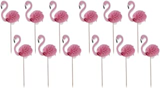Dolity Pack of 24 Novelty Pineapple Flamingo Cupcake Cake Topper Cake Decor for Luau Hawaii Kids Birthday Party - Pink Fla...