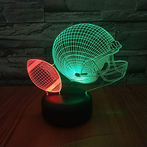 Hlsgmv American Football Helm 3D Nachtlicht Schlug Farbe Neuartige Beleuchtung Schlafzimmer Dekoration Lampe Kinder Kinder Geschenk Führte Nachtlicht, Neuartiges Geschenk