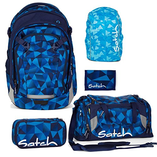 Satch MATCH by Ergobag Blue Crush 5-tlg. Set Schulrucksack + Sporttasche + Schlamperbox inkl. Geodreieck + Geldbeutel + Regenhaube Blau