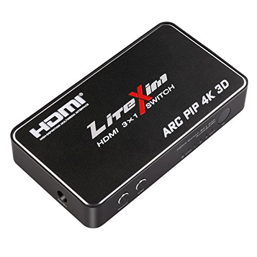 LiteXim 3x1 HDMI Switch with Pip, SPDIF Audio ARC Function and 3.5mm Stereo Audio Extract, Multifunctional HDMI Switcher Hub with IR Remote, Certified for 4Kx2K@30Hz and 3D Support
