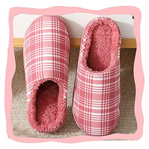 QBLDX Zapatillas de Punto para Mujer Zapatillas de Casa con Espuma Viscoelástica Suave y Cómoda para Mujer,Red-5/6UK