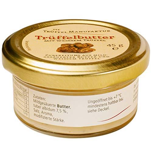 Die Trüffelmanufaktur - Feinkost Trüffelbutter mit 7,5 {c0a0f879da0689ed43192cdee3152409337095deebe08ae2af8422586caae4c3} echtem frischen weißem Trüffel, die Delikatesse für Feinschmecker, Trueffel-Butter weiß im Glas á 45 g - hergestellt in Deutschland