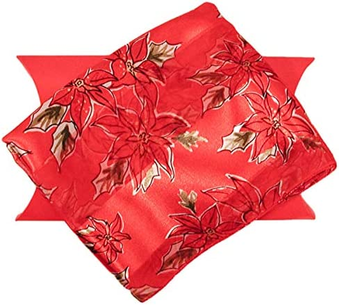 Red Poinsettia Christmas Scarvf with Gift Box product image