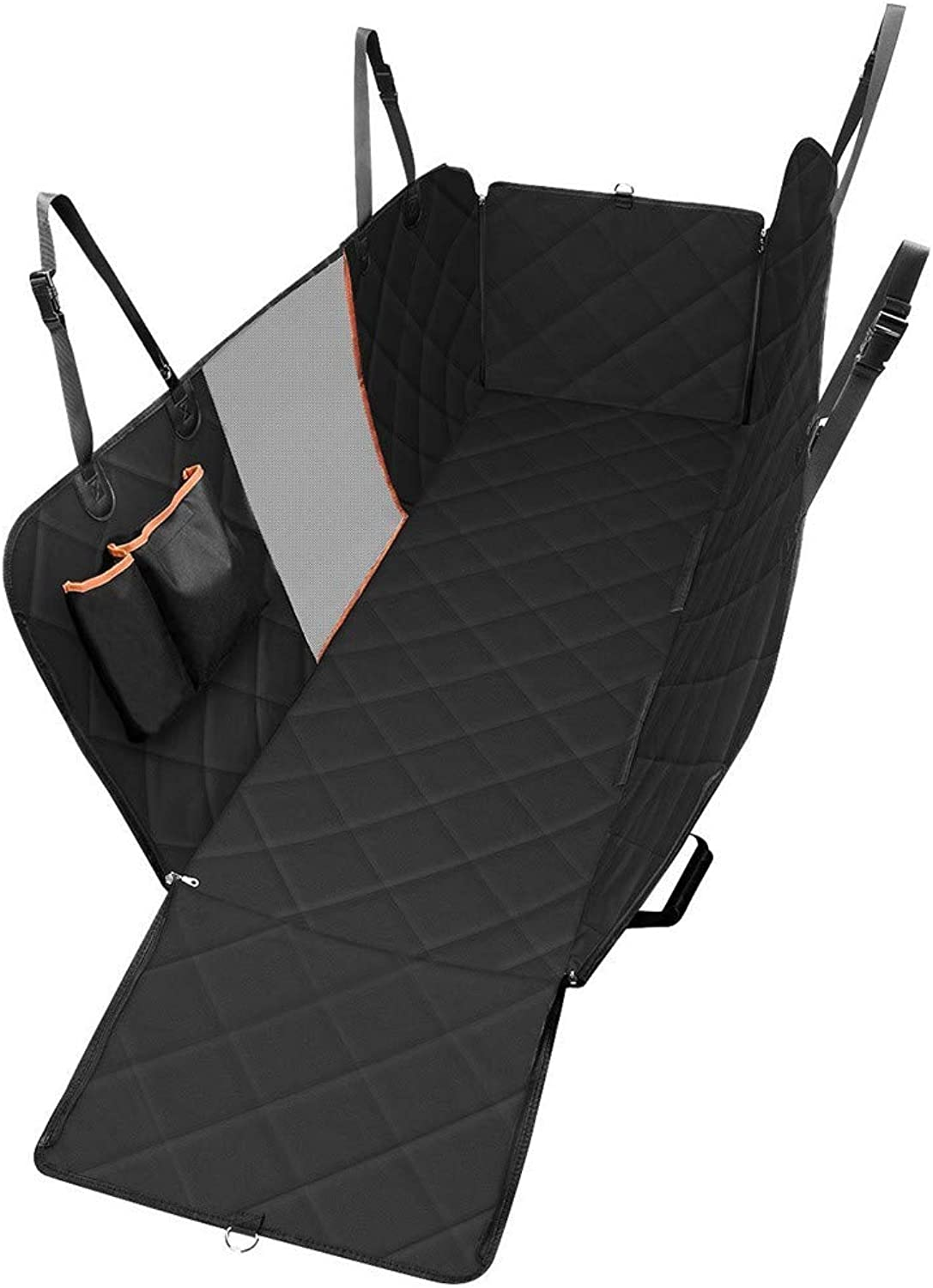 Dog car seat cover Pet Seat Cover Dog Car Seat Cover with Mesh Viewing Window Storage Pocket Dog Hammock Waterproof NonScratch Large Backseat Cover Nonslip Backing and Seat Anchors for Cars Trucks SU
