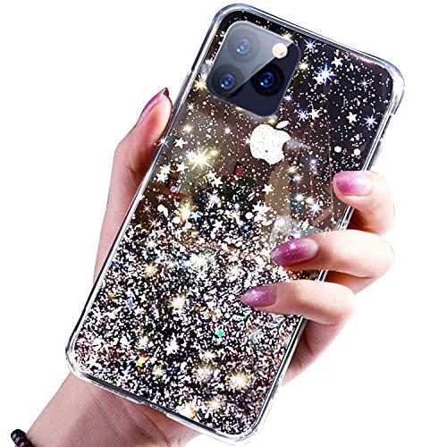 Funda para iPhone 11 Pro Max, con purpurina brillante, doble capa, carcasa rígida de policarbonato suave, interior de TPU a prueba de golpes y purpurina para iPhone