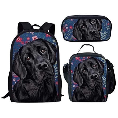 Black Labrador Dog 3D Print School Backpack Sets for Teen Boys Girls Primary Student Lunch Bag Pencilcase,ZBH1298CGK