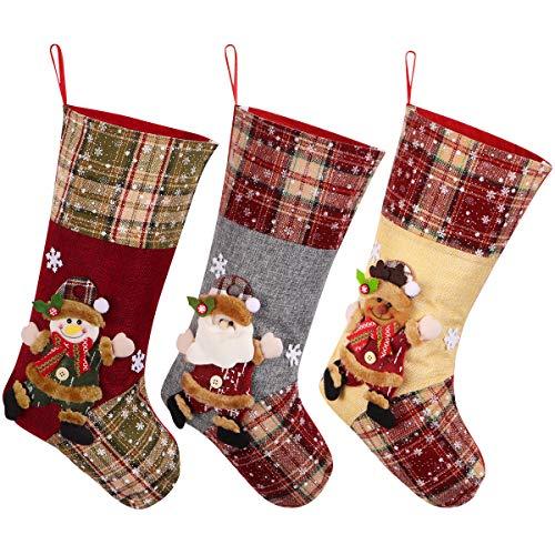 """Toyvian Weihnachtsstrumpf, Big Xmas Stockings Decoration, 18,7""""Santa Snowman Reindeer Stocking Weihnachtsschmuck und Partyzubehör 3er-Set"""