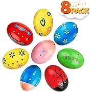 Kidtion 8Pcs Easter Eggs, Maracas Wooden Egg for Easter Basket Stuffers, Percussion Musical Egg Shakers Kids Toys