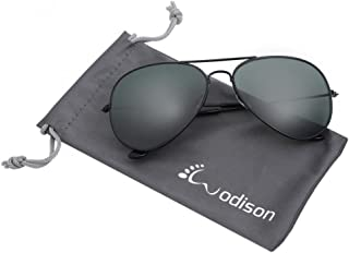 b20a500906c WODISON Vintage Mirrored Aviator Sunglasses for Women Men Reflective Lens  Metal Frame