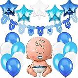 Decoraciones Fiesta de Bienvenida de Bebe Niño. Bandera Es Un Chico It's a Boy, Globo de Aluminio a Recien Nacido, 5 Estrellas Globos de Aluminio, 12 Globos. Accessorios Baby Shower