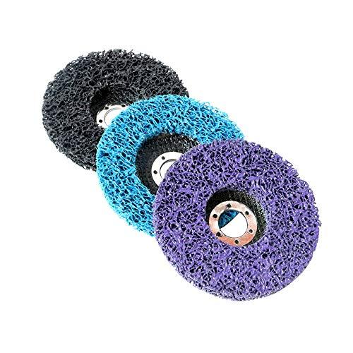 3PCS Poly Strip Wheel Disc Rost und Lackentferner Saubere Schleifscheiben Clean Disc Abrasive Wheel Pad Tool für Winkelschleifer Lila, Blau, Schwarz