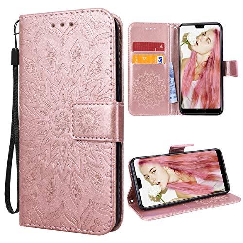 VemMore für Huawei P20 Hülle Handyhülle Schutzhülle Leder PU Wallet Flip Case Bumper Lederhülle Ledertasche Blumen Muster Klapphülle Klappbar Magnetisch Dünn Silikon Sonnenblume - Rose Gold