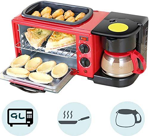Knoijijuo 9L Horno 1050 (W), Compact 3in1 Desayuno Horno con Antiadherente máquina de café sartén y 0,6 L, con la sincronización, la cocción, Tortilla, calefacción, descongelación