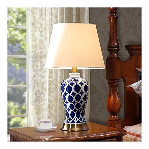 YM963 Pintado a Mano Azul de la Red Tabla Lámpara de cerámica -Dormitorio cabecera American Village Retro Sala de Estar lámpara de Mesa (E27)