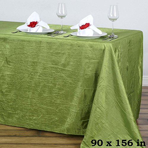 BalsaCircle 90x156-Inch Sage Green Rectangle Crinkled Taffeta Tablecloth Table Cover Linens for Wedding Party Kitchen Dining Events