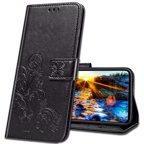 MRSTER Handyhülle für Nokia 3.1 Plus Hülle, Schutzhüllen aus Klappetui mit Kreditkartenhaltern, Ständer, Magnetverschluss Tasche Kompatibel für Nokia 3.1 Plus 2018. Luck Clover Black