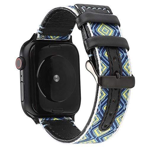 De Galen Tela y correa de cuero para Apple Watch Series 5, 4, 3, 2, correa de 42 mm, 38 mm, correa de reloj compatible con Apple Watch 5, correa de 4 mm, 40 mm