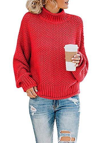 Yidarton Pullover Damen Elegant Winter Rollkragenpullover Strickpullover Grobstrickpullover Casual Lose Pulli Langarm Oberteile (3261-Rot, Large)