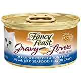 Fancy Feast Gravy Lovers Wet Cat Food, Ocean Whitefish and Tuna Feast in Seafood Gravy, (24) 3 Oz Cans