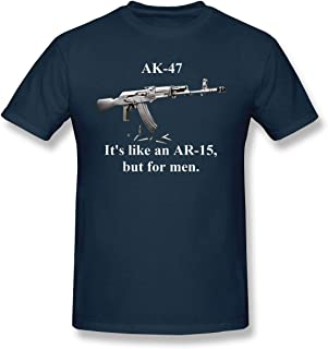 Gasukee Men's AK-47 It's Like an AR-15 But for Men Leisure T-Shirt Navy with Short Sleeve