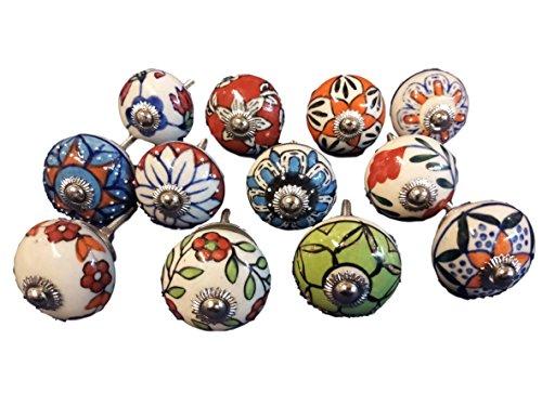 12 pomelli in ceramica effetto vintage a forma di fiore per porta, armadietto, cassetto, armadietto, cassetto, armadietto, rotondo