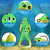 Soft Frog Bait Frog Lure,1/3/6 Pieces Double Propellers Legs Silicone Fishing Lures, 3D Eyes,Bigger Splash More Attractive Fishing Lure Set Weedless Bass Baits for Topwater Saltwater Freshwater(3-Dr)
