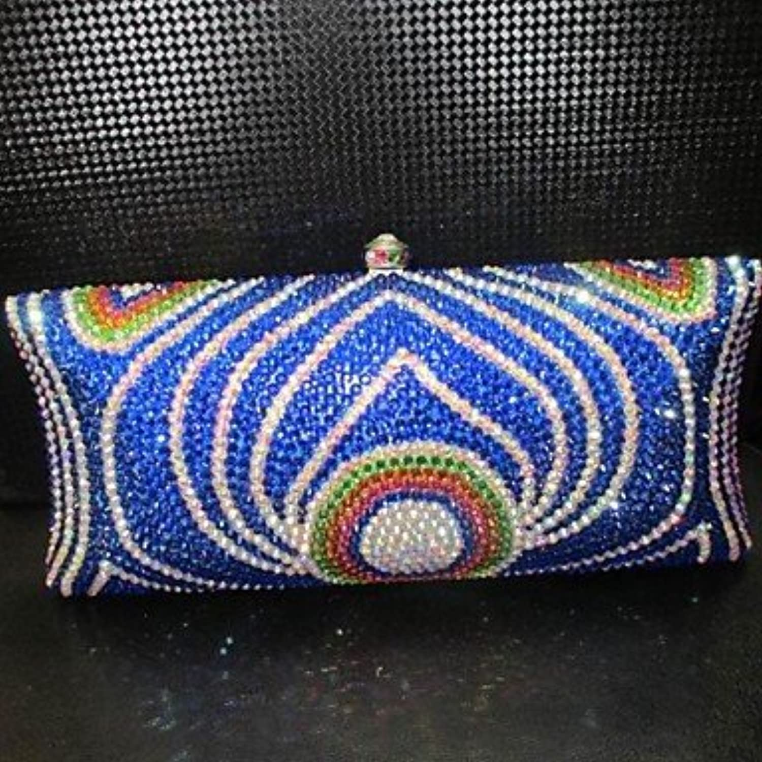 W&P Women PU Event Party Evening Bag bluee   Green   Multi-color