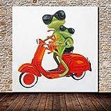 DACEHome Peinture À L'Huile sur Toile,Colorés, Multicolores, des Animaux, De La Mère avec Les Enfants, Grenouille,...