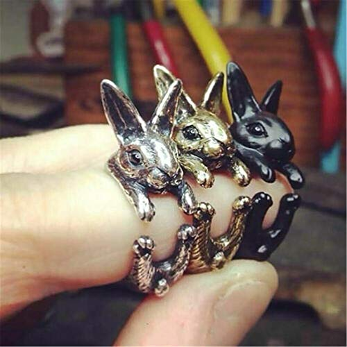 3Pcs Women Adjustable Vintage Hippie Chic Handmade Rabbit Bunny Knuckles Rings, Bunny Animal Knuckles Rings for Women Girls Charm Gift Fashion Jewelry, Animal Pet Fashion Jewelry