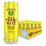 Guayaki Yerba Mate, Grapefruit Ginger, Organic Sparkling Alternative to Soda, Tea, and Energy Drinks, 12 Ounce Cans (Pack of 12), Reduced Calorie with 45 Calories Per Can, 80mg Caffeine