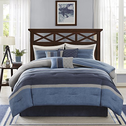 Madison Park Cozy Comforter Set Casual Modern Design - All Season Bedding, Matching Bed Skirt, Decorative Pillows, Collins, Suede Blue Grey King(104'x92') 7 Piece