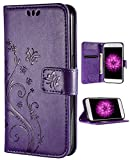 FLYEE iPhone 6 Plus Case,iPhone 6 Plus Wallet Case, Flip Case Wallet Leather [Kickstand] Embossing Butterfly Flower Folio Magnetic Protective Cover with Card Slots for iPhone 6/6 Plus 5.5 inch Purple